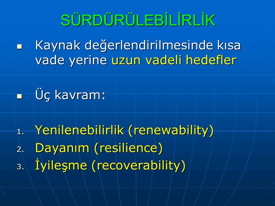 GÖSTERGE MEVCUT TEPKİLERSU TALEBİ YÖN.TEMEL (1991) MDS (198 2) İYİ.