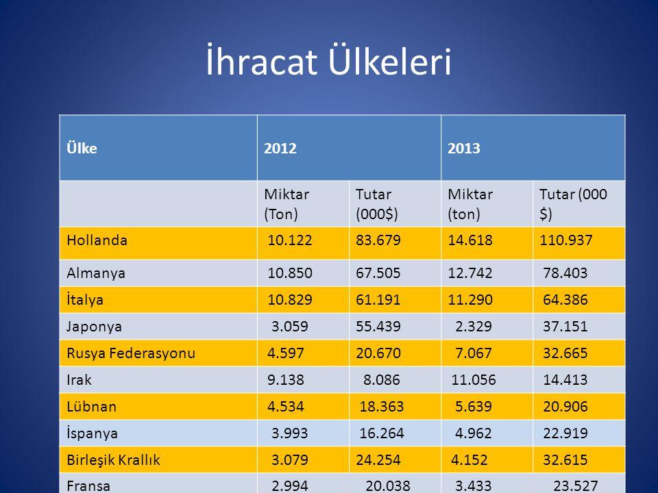 İhracat Ülkeleri Ülke20122013 Miktar (Ton) Tutar (000$) Miktar (ton) Tutar (000 $) Hollanda 10.12283.67914.618110.937 Almanya 10.85067.50512.742 78.40