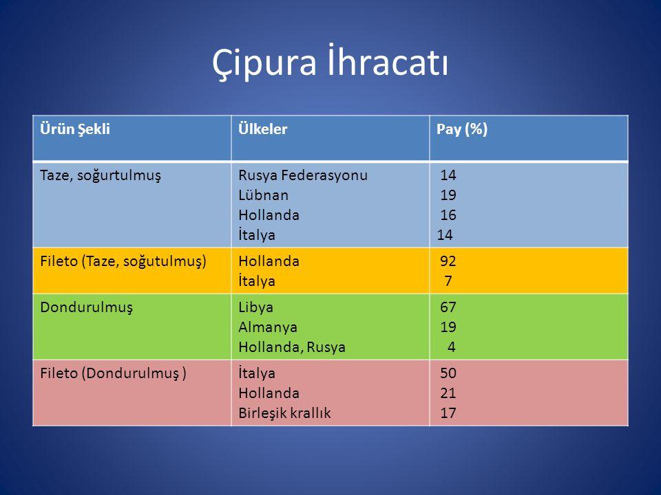 Çipura İhracatı Ürün ŞekliÜlkelerPay (%) Taze, soğurtulmuşRusya Federasyonu Lübnan Hollanda İtalya 14 19 16 14 Fileto (Taze, soğutulmuş)Hollanda İtaly