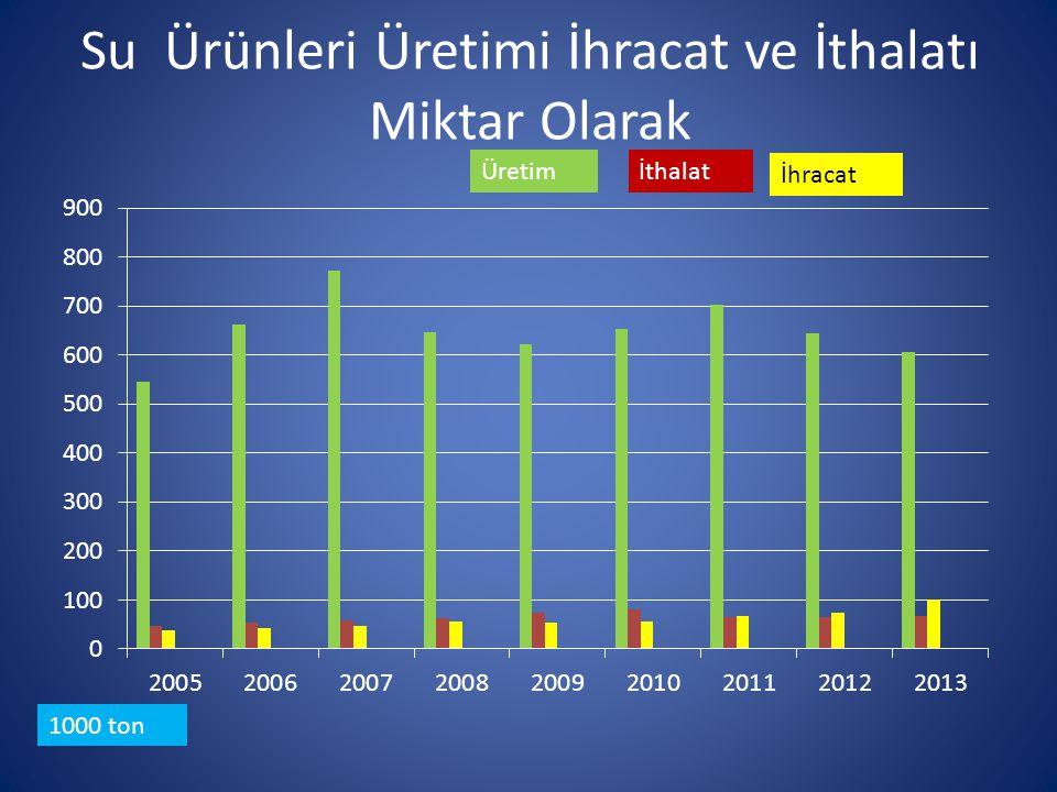 Su Ürünleri Yetiştiricilik Tesisleri (2012 Yılı) Faaliyet AlanıAdetProje Kapasitesi Ton /yıl Fiili Üretim Ton/yıl Üretime Dönüşecek kapasite Ton/yıl Deniz 408242.322100.853141.469 İçsular 1.883193.420111.557 81.863 Toplam 2.291435.742212.410223.332 % 58 Denizlerde Üretime Dönüşebilecek % 58 proje kapasitesi İçsularda ise Üretime Dönüşebilecek % 42 proje kapasitesi var