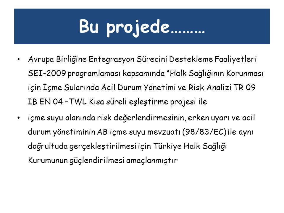 Bu projede……… Proje 4 ana hedef doğrultusunda yürütülmüştür: Hedef 1: İçme Suyu konusunda Türkiye Halk Sağlığı Kurumunun risk değerlendirme kapasitesinin geliştirilmesi, Hedef 2: İçme suyunda kirliliklerin belirlenmesine yönelik metodolojiler, Hedef 3: Türkiye Halk Sağlığı Kurumunun içme suyundaki erken uyarı kapasitesinin geliştirilmesi, Hedef 4: Türkiye Halk Sağlığı Kurumunun içme suyundaki acil durum yönetim kapasitesinin geliştirilmesi