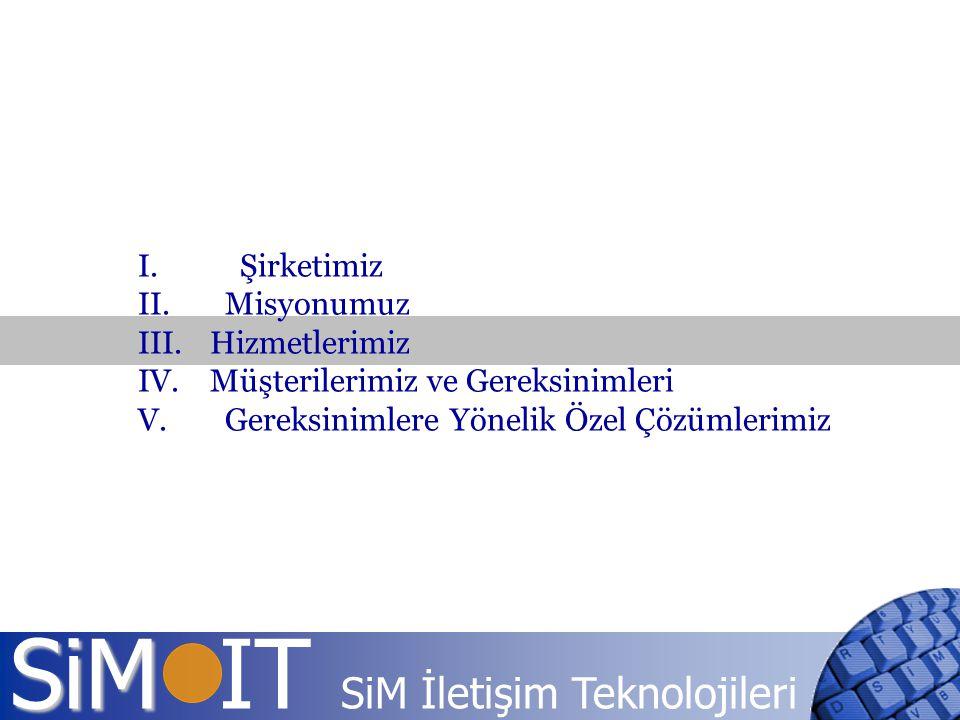SiM SiM IT SiM İletişim Teknolojileri I. Şirketimiz II. Misyonumuz III. Hizmetlerimiz IV. Müşterilerimiz ve Gereksinimleri V. Gereksinimlere Yönelik Ö