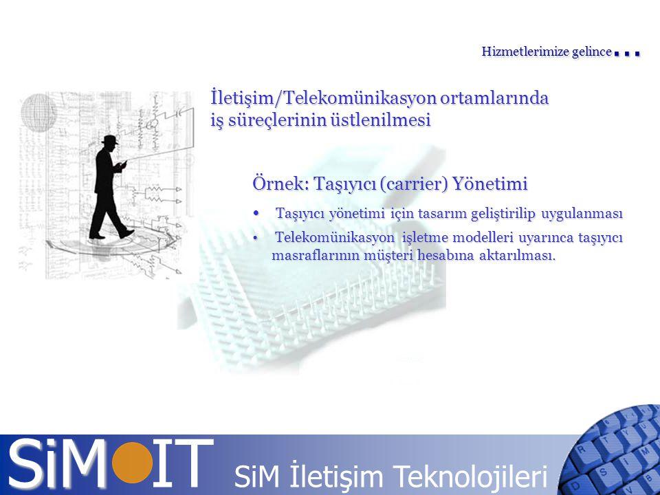 SiM SiM IT SiM İletişim Teknolojileri İletişim/Telekomünikasyon ortamlarında iş süreçlerinin üstlenilmesi Örnek: Taşıyıcı (carrier) Yönetimi Taşıyıcı