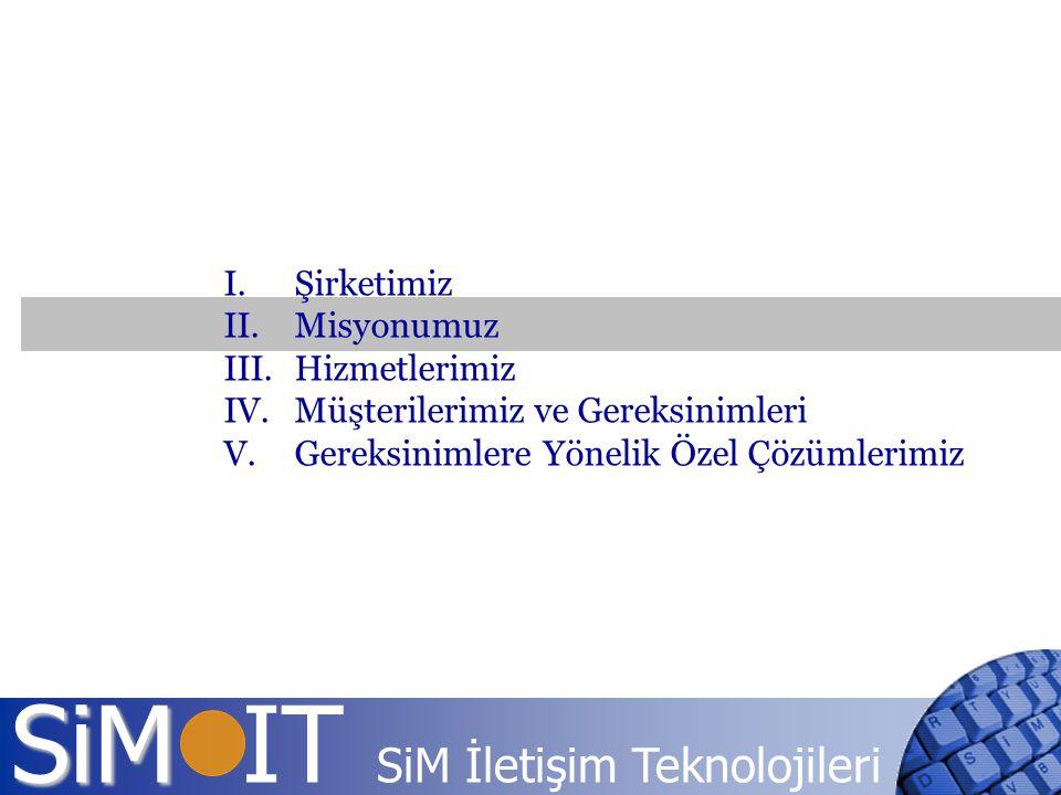 SiM SiM IT SiM İletişim Teknolojileri I.Şirketimiz II.Misyonumuz III.Hizmetlerimiz IV.Müşterilerimiz ve Gereksinimleri V.Gereksinimlere Yönelik Özel Ç