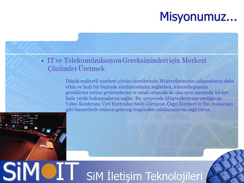 SiM SiM IT SiM İletişim Teknolojileri IT ve Telekomünikasyon Gereksinimleri için Merkezi IT ve Telekomünikasyon Gereksinimleri için Merkezi Çözümler Ü
