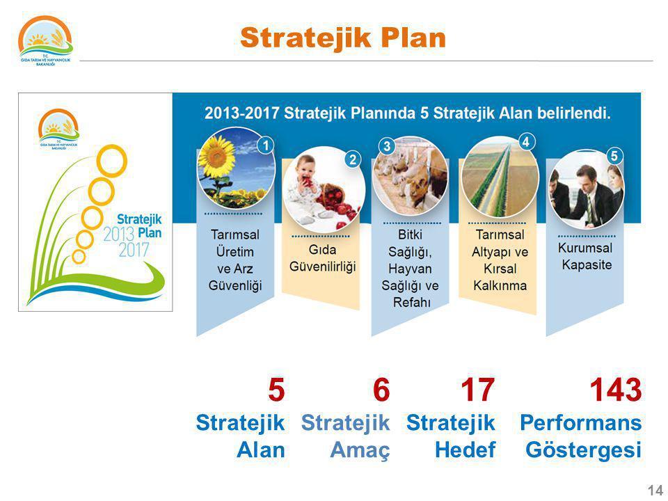 5 Stratejik Alan 6 Stratejik Amaç 17 Stratejik Hedef 143 Performans Göstergesi Stratejik Plan 14