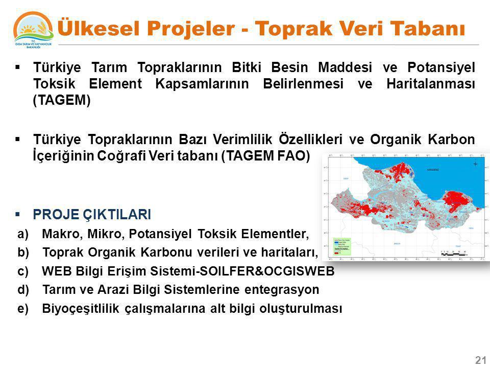  Türkiye Tarım Topraklarının Bitki Besin Maddesi ve Potansiyel Toksik Element Kapsamlarının Belirlenmesi ve Haritalanması (TAGEM)  Türkiye Topraklar
