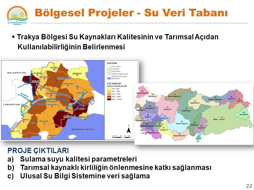Bölgesel Projeler - Su Veri Tabanı  Trakya Bölgesi Su Kaynakları Kalitesinin ve Tarımsal Açıdan Kullanılabilirliğinin Belirlenmesi PROJE ÇIKTILARI a)