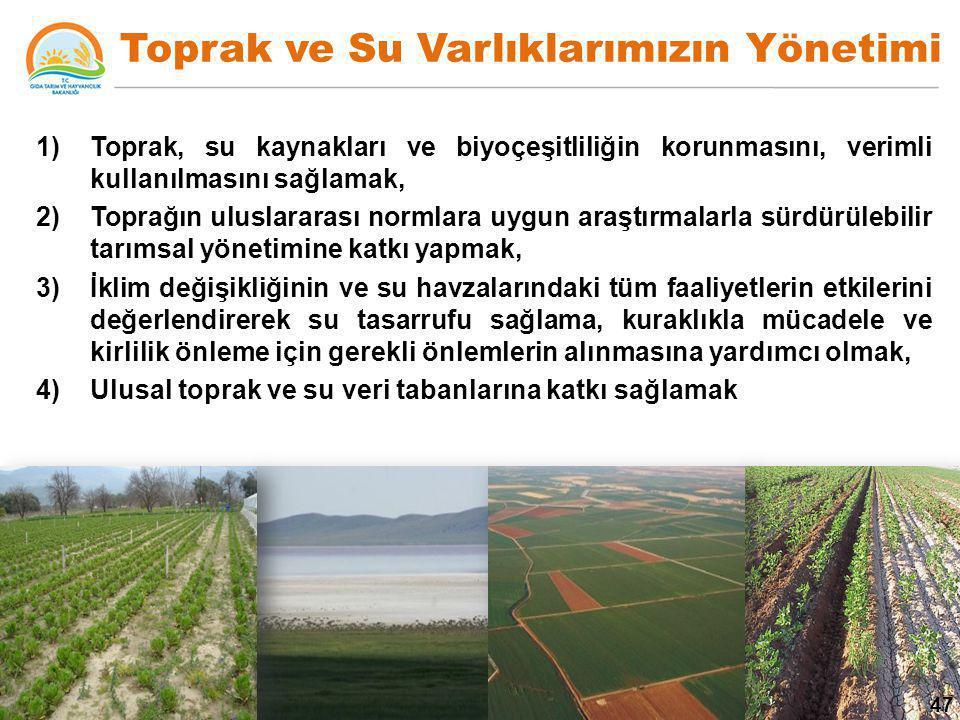 Toprak ve Su Varlıklarımızın Yönetimi 1)Toprak, su kaynakları ve biyoçeşitliliğin korunmasını, verimli kullanılmasını sağlamak, 2)Toprağın uluslararas