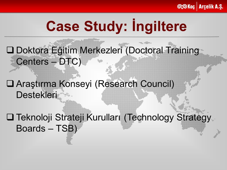 Case Study: İngiltere  Doktora Eğitim Merkezleri (Doctoral Training Centers – DTC)  Araştırma Konseyi (Research Council) Destekleri  Teknoloji Stra