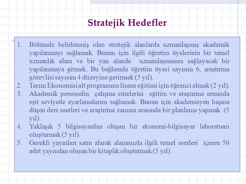1.Bölümde belirlenmiş olan stratejik alanlarda uzmanlaşmış akademik yapılanmayı sağlamak.