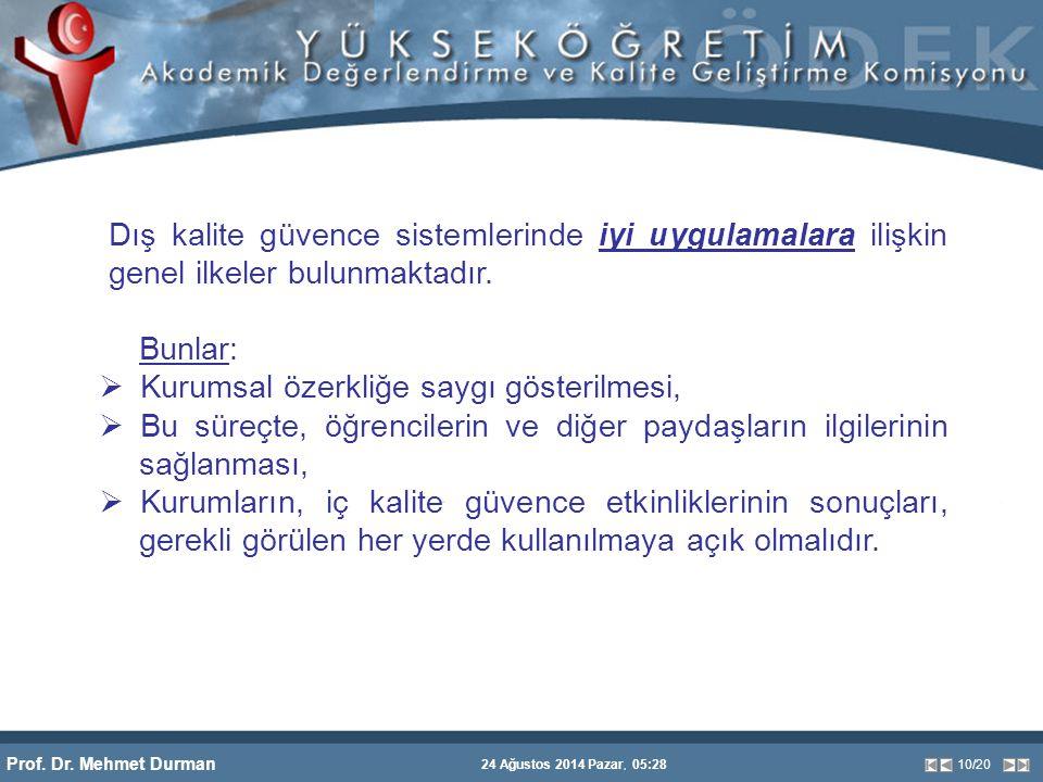Prof. Dr. Mehmet Durman 24 Ağustos 2014 Pazar, 05:28 10/20 Dış kalite güvence sistemlerinde iyi uygulamalara ilişkin genel ilkeler bulunmaktadır. Bunl