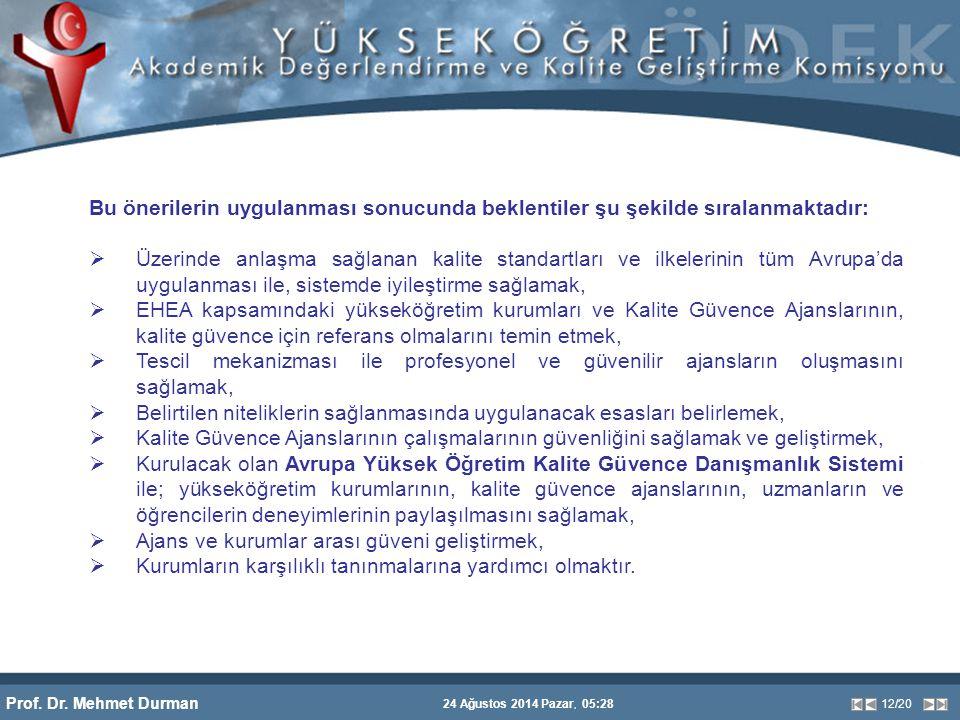 Prof. Dr. Mehmet Durman 24 Ağustos 2014 Pazar, 05:28 12/20 Bu önerilerin uygulanması sonucunda beklentiler şu şekilde sıralanmaktadır:  Üzerinde anla