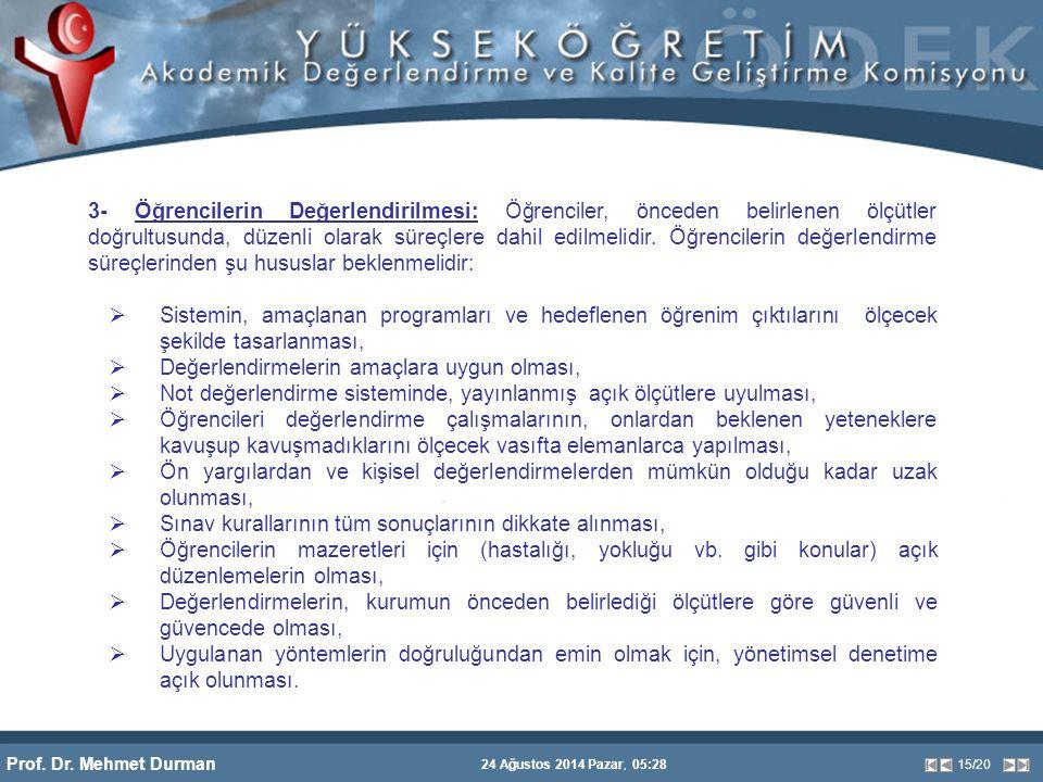 Prof. Dr. Mehmet Durman 24 Ağustos 2014 Pazar, 05:28 15/20 3- Öğrencilerin Değerlendirilmesi: Öğrenciler, önceden belirlenen ölçütler doğrultusunda, d