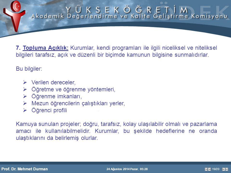 Prof. Dr. Mehmet Durman 24 Ağustos 2014 Pazar, 05:28 19/20 7. Topluma Açıklık: Kurumlar, kendi programları ile ilgili niceliksel ve niteliksel bilgile