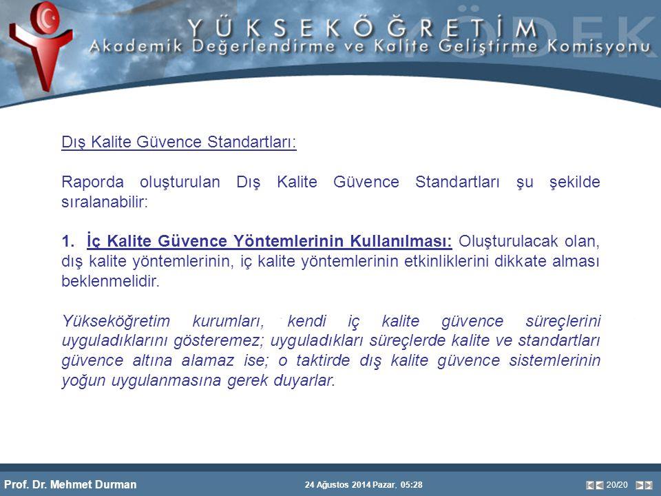 Prof. Dr. Mehmet Durman 24 Ağustos 2014 Pazar, 05:28 20/20 Dış Kalite Güvence Standartları: Raporda oluşturulan Dış Kalite Güvence Standartları şu şek