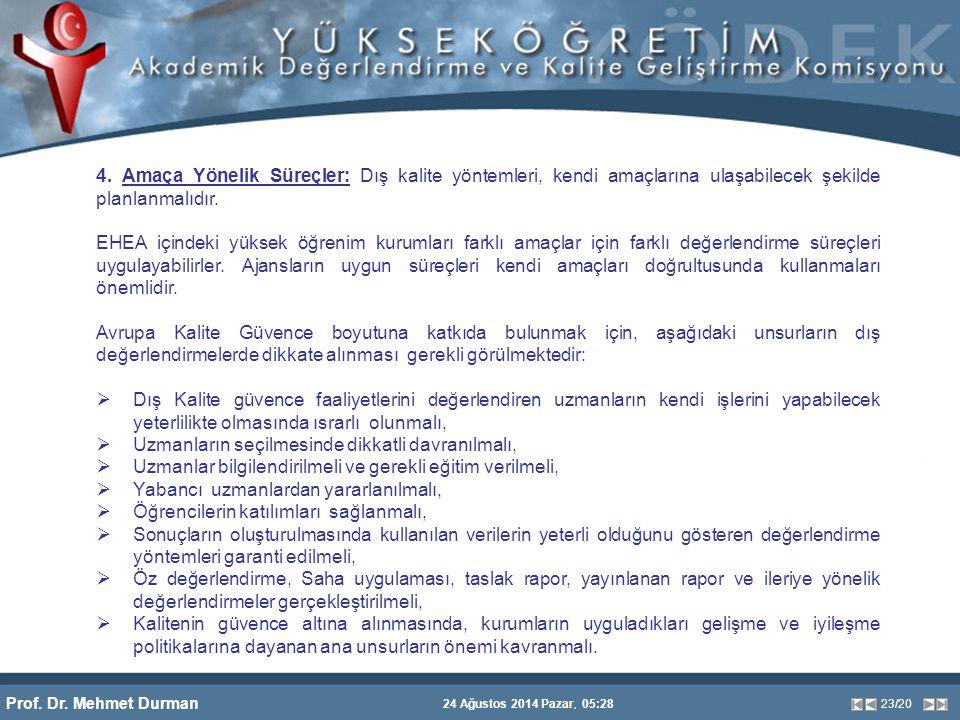 Prof. Dr. Mehmet Durman 24 Ağustos 2014 Pazar, 05:28 23/20 4. Amaça Yönelik Süreçler: Dış kalite yöntemleri, kendi amaçlarına ulaşabilecek şekilde pla