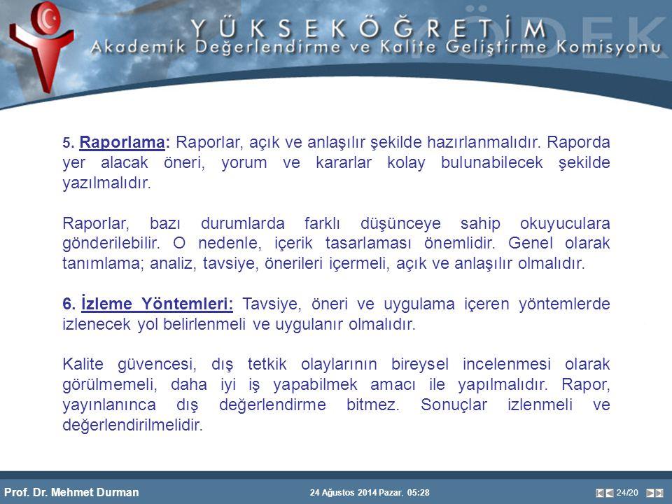 Prof. Dr. Mehmet Durman 24 Ağustos 2014 Pazar, 05:28 24/20 5. Raporlama: Raporlar, açık ve anlaşılır şekilde hazırlanmalıdır. Raporda yer alacak öneri
