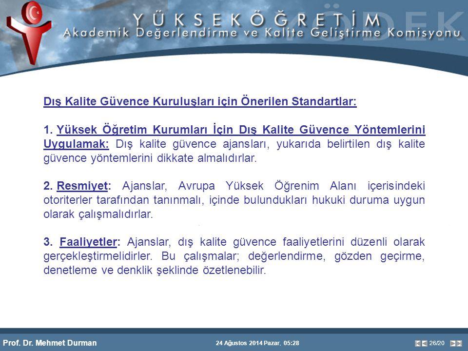 Prof. Dr. Mehmet Durman 24 Ağustos 2014 Pazar, 05:28 26/20 Dış Kalite Güvence Kuruluşları için Önerilen Standartlar: 1. Yüksek Öğretim Kurumları İçin