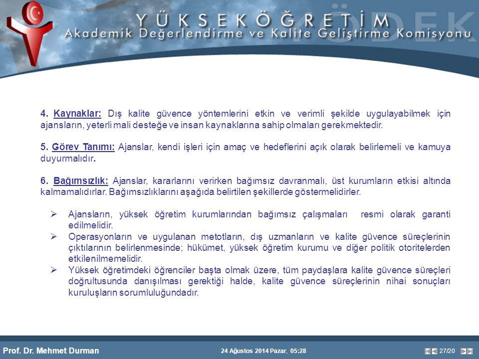 Prof. Dr. Mehmet Durman 24 Ağustos 2014 Pazar, 05:28 27/20 4. Kaynaklar: Dış kalite güvence yöntemlerini etkin ve verimli şekilde uygulayabilmek için