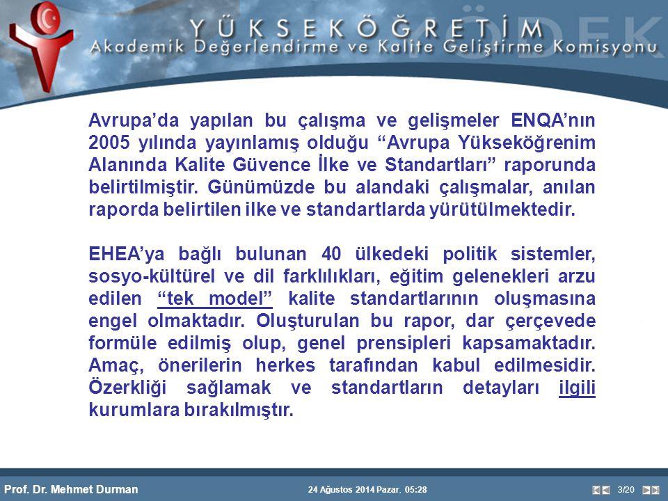 """Prof. Dr. Mehmet Durman 24 Ağustos 2014 Pazar, 05:28 3/20 Avrupa'da yapılan bu çalışma ve gelişmeler ENQA'nın 2005 yılında yayınlamış olduğu """"Avrupa Y"""