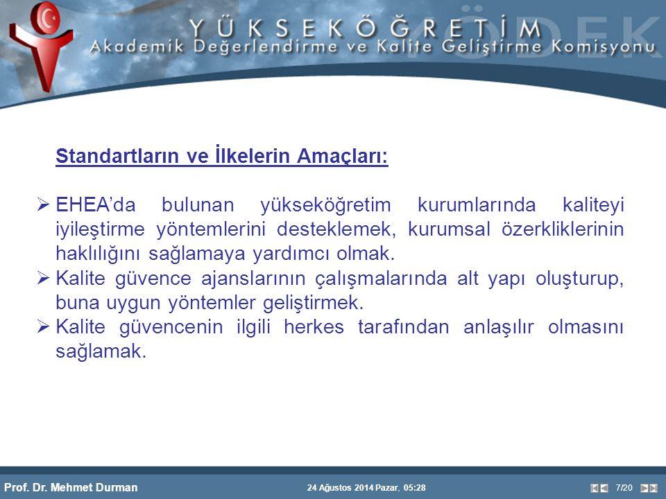 Prof. Dr. Mehmet Durman 24 Ağustos 2014 Pazar, 05:28 7/20 Standartların ve İlkelerin Amaçları:  EHEA'da bulunan yükseköğretim kurumlarında kaliteyi i