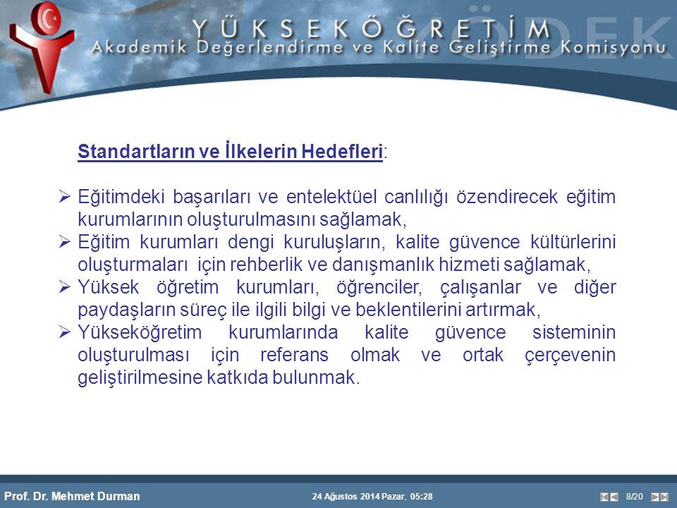 Prof. Dr. Mehmet Durman 24 Ağustos 2014 Pazar, 05:28 8/20 Standartların ve İlkelerin Hedefleri:  Eğitimdeki başarıları ve entelektüel canlılığı özend