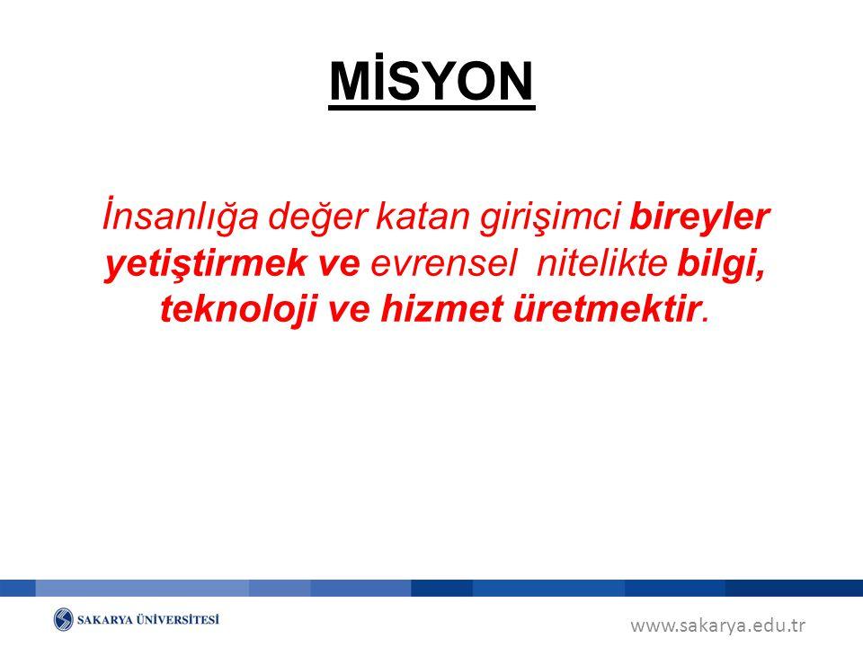 www.sakarya.edu.tr VİZYON Ürettiği evrensel nitelikteki bilgi ve teknoloji ile Türkiye ve dünyada paydaşlarının geleceğine yön veren bir üniversite olmaktır.