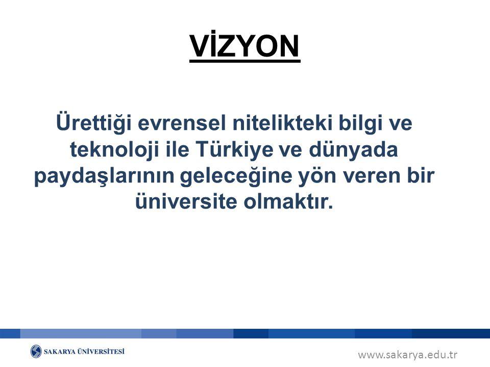 www.sakarya.edu.tr VİZYON Ürettiği evrensel nitelikteki bilgi ve teknoloji ile Türkiye ve dünyada paydaşlarının geleceğine yön veren bir üniversite ol