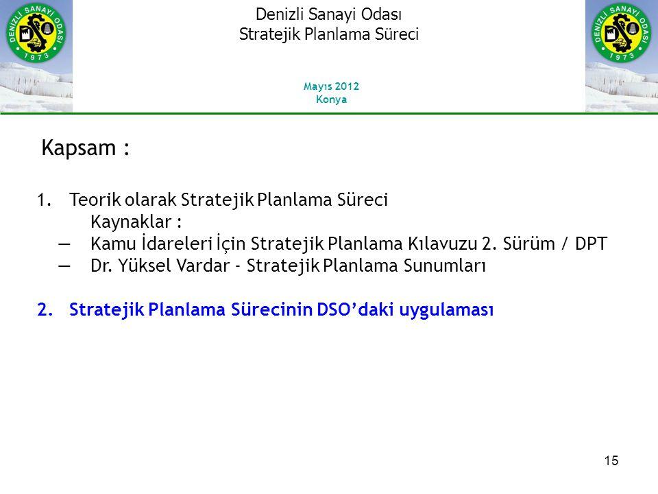 15 Kapsam : 1.Teorik olarak Stratejik Planlama Süreci Kaynaklar : ―Kamu İdareleri İçin Stratejik Planlama Kılavuzu 2.