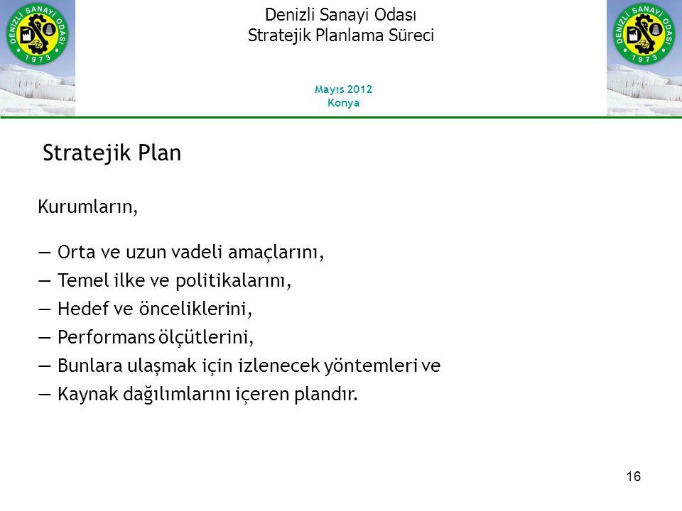 16 Stratejik Plan Kurumların, ― Orta ve uzun vadeli amaçlarını, ― Temel ilke ve politikalarını, ― Hedef ve önceliklerini, ― Performans ölçütlerini, ― Bunlara ulaşmak için izlenecek yöntemleri ve ― Kaynak dağılımlarını içeren plandır.