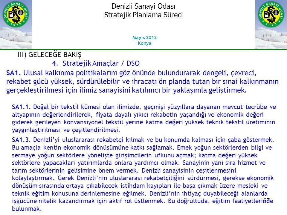 67 III) GELECEĞE BAKIŞ 4.Stratejik Amaçlar / DSO SA1.