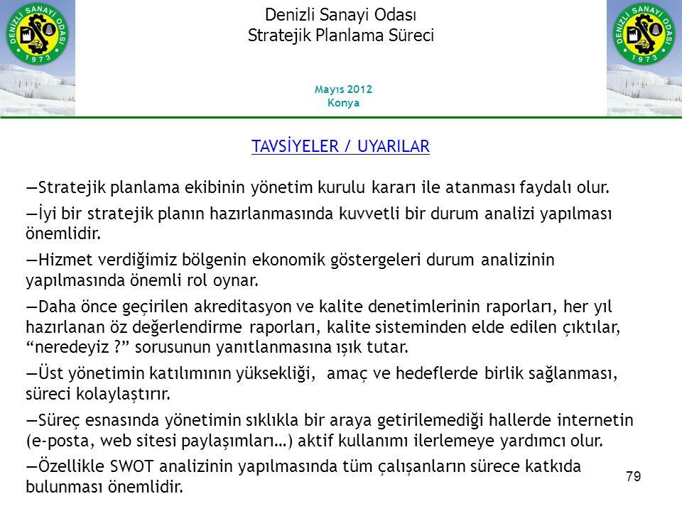 79 TAVSİYELER / UYARILAR ―Stratejik planlama ekibinin yönetim kurulu kararı ile atanması faydalı olur.