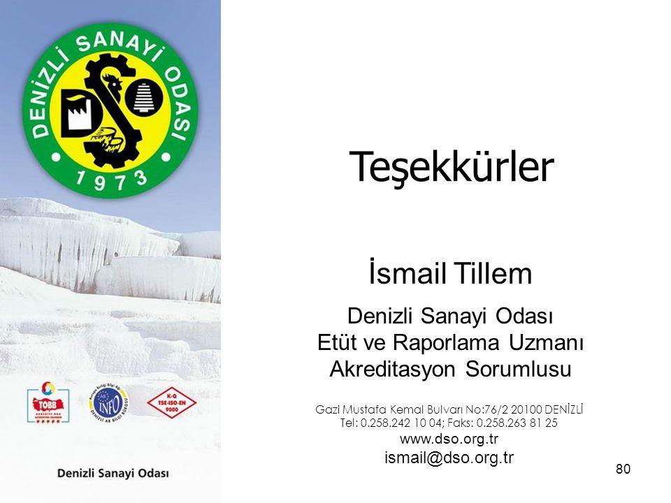 80 Teşekkürler İsmail Tillem Denizli Sanayi Odası Etüt ve Raporlama Uzmanı Akreditasyon Sorumlusu Gazi Mustafa Kemal Bulvarı No:76/2 20100 DENİZLİ Tel: 0.258.242 10 04; Faks: 0.258.263 81 25 www.dso.org.tr ismail@dso.org.tr
