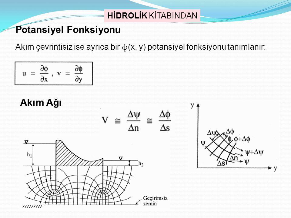Potansiyel Fonksiyonu Akım çevrintisiz ise ayrıca bir ɸ (x, y) potansiyel fonksiyonu tanımlanır: Akım Ağı HİDROLİK KİTABINDAN