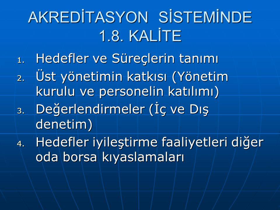 AKREDİTASYON SİSTEMİNDE 1.8. KALİTE 1. Hedefler ve Süreçlerin tanımı 2. Üst yönetimin katkısı (Yönetim kurulu ve personelin katılımı) 3. Değerlendirme