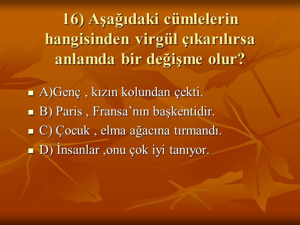 16) Aşağıdaki cümlelerin hangisinden virgül çıkarılırsa anlamda bir değişme olur.