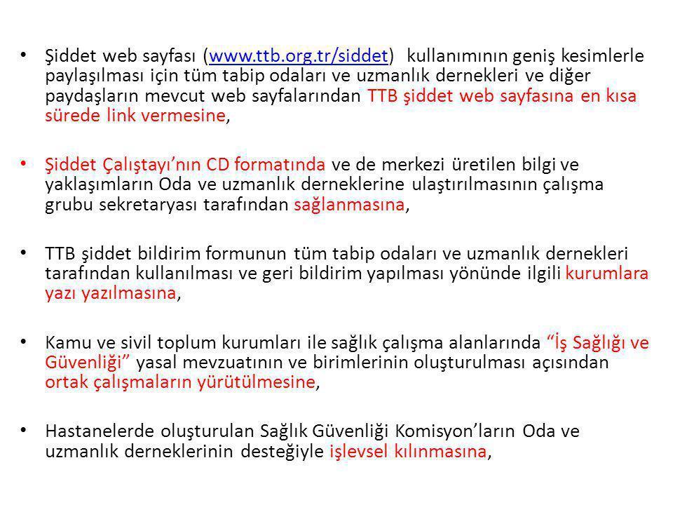 Şiddet web sayfası (www.ttb.org.tr/siddet) kullanımının geniş kesimlerle paylaşılması için tüm tabip odaları ve uzmanlık dernekleri ve diğer paydaşlar