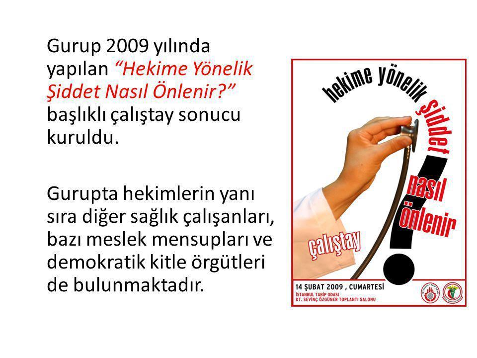 Gurup 2009 yılında yapılan Hekime Yönelik Şiddet Nasıl Önlenir başlıklı çalıştay sonucu kuruldu.