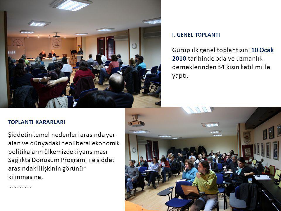 I. GENEL TOPLANTI Gurup ilk genel toplantısını 10 Ocak 2010 tarihinde oda ve uzmanlık derneklerinden 34 kişin katılımı ile yaptı. TOPLANTI KARARLARI Ş