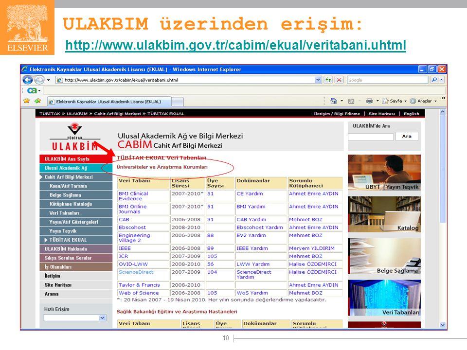 10 ULAKBIM üzerinden erişim: http://www.ulakbim.gov.tr/cabim/ekual/veritabani.uhtml