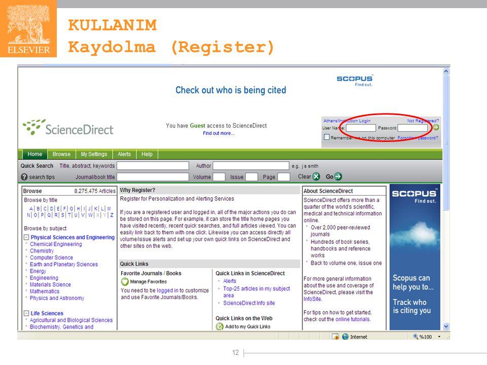 12 KULLANIM Kaydolma (Register)