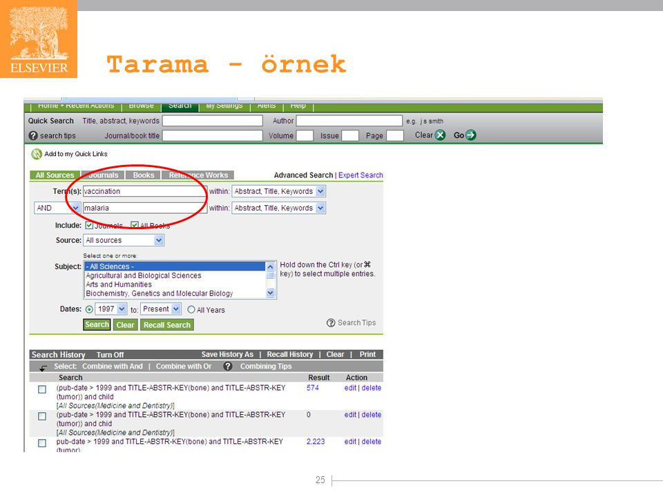 25 Tarama - örnek