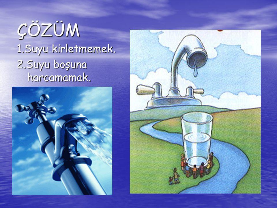 ÇÖZÜM 1.Suyu kirletmemek. 2.Suyu boşuna harcamamak.