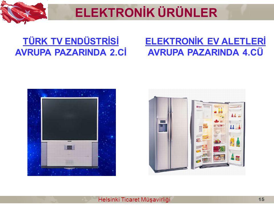 ELEKTRONİK ÜRÜNLER TÜRK TV ENDÜSTRİSİ AVRUPA PAZARINDA 2.Cİ ELEKTRONİK EV ALETLERİ AVRUPA PAZARINDA 4.CÜ Helsinki Ticaret Müşavirliği Helsinki Ticaret