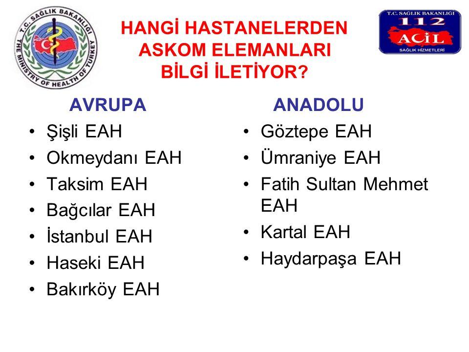 HANGİ HASTANELERDEN ASKOM ELEMANLARI BİLGİ İLETİYOR? AVRUPA Şişli EAH Okmeydanı EAH Taksim EAH Bağcılar EAH İstanbul EAH Haseki EAH Bakırköy EAH ANADO