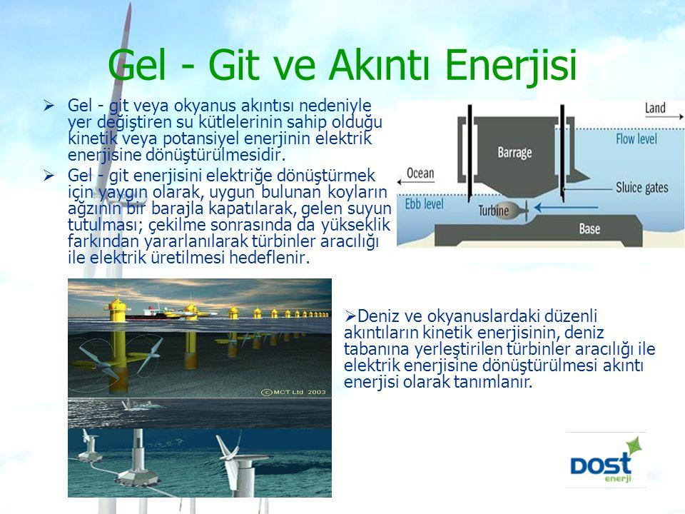 Gel - Git ve Akıntı Enerjisi  Gel - git veya okyanus akıntısı nedeniyle yer değiştiren su kütlelerinin sahip olduğu kinetik veya potansiyel enerjinin
