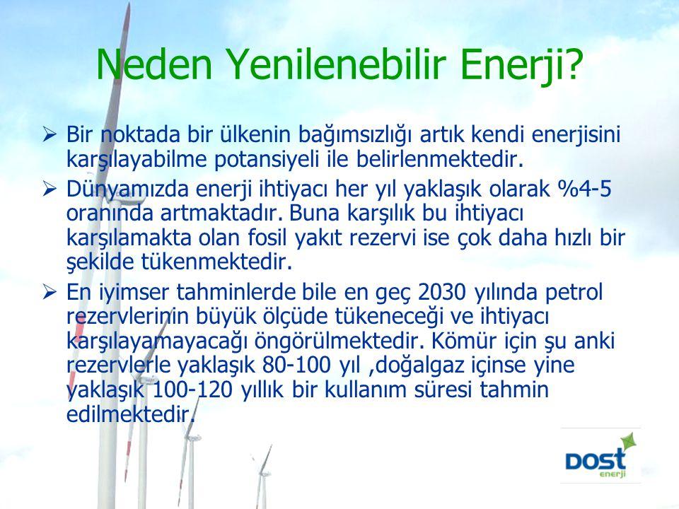 Neden Yenilenebilir Enerji?  Bir noktada bir ülkenin bağımsızlığı artık kendi enerjisini karşılayabilme potansiyeli ile belirlenmektedir.  Dünyamızd