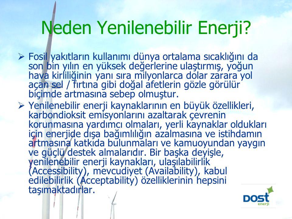 Neden Yenilenebilir Enerji?  Fosil yakıtların kullanımı dünya ortalama sıcaklığını da son bin yılın en yüksek değerlerine ulaştırmış, yoğun hava kirl