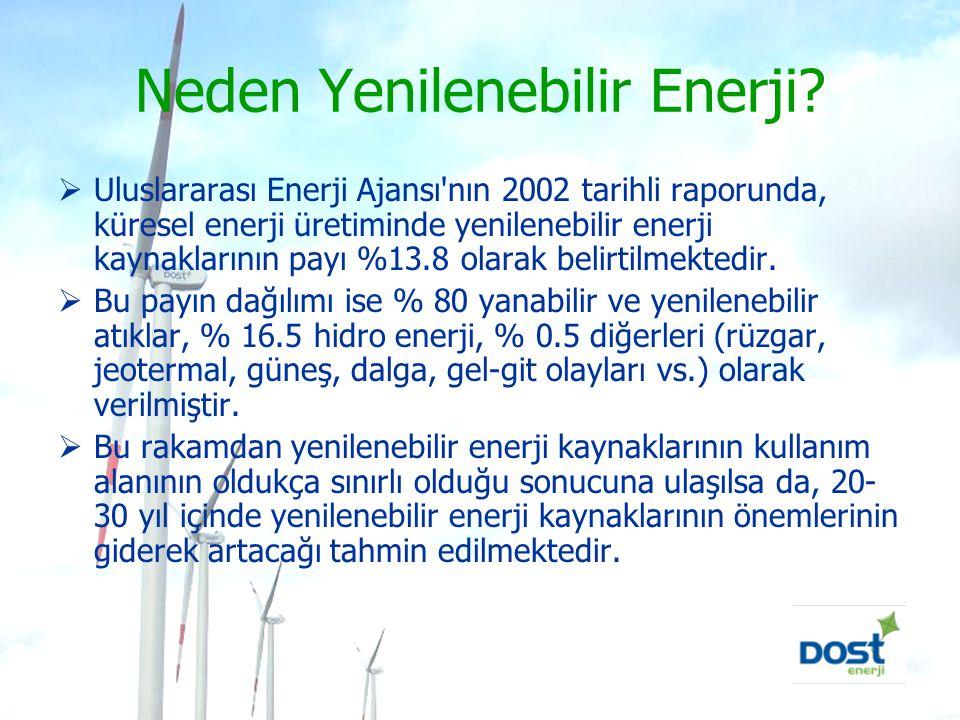 Neden Yenilenebilir Enerji?  Uluslararası Enerji Ajansı'nın 2002 tarihli raporunda, küresel enerji üretiminde yenilenebilir enerji kaynaklarının payı